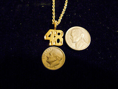 bling gold plated game fashion jewelry number 48 pendant charm hip hop necklace
