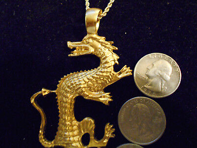 bling gold plated large big large dragon pendant charm chain hip hop necklace gp