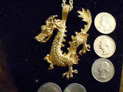 bling gold plated CELTIC PAGAN MYTH druid dragon pendant charm necklace JEWELRY