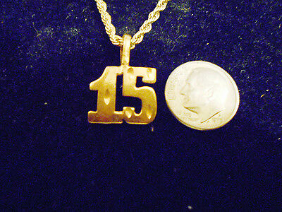 bling gold plated sports football number 15 pendant charm necklace jewelry gp