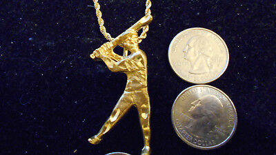 bling gold plated SPORTS baseball batter FASHION pendant charm necklace jewelry