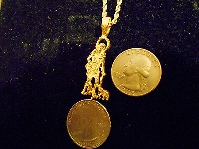 gold plated SAINT LAZARUS PATRON ST. MYTH HIP HOP pendant charm necklace jewelry