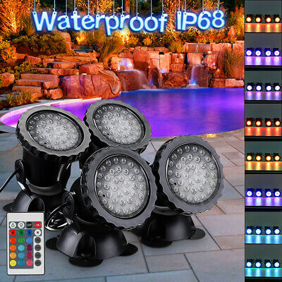 4Pcs 36LED Submersible RGB Pond Spot Lights Underwater Pool Fountain Lamp+Remote