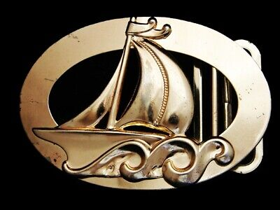 MA09122 VERY COOL VINTAGE 1970s CUT-OUT **SAILBOAT** GOLDTONE BELT BUCKLE