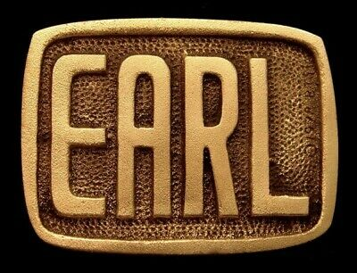 Oa28116 *Nos* Vintage 1978 Bts  ***Earl*** Small Solid Brass Name Buckle