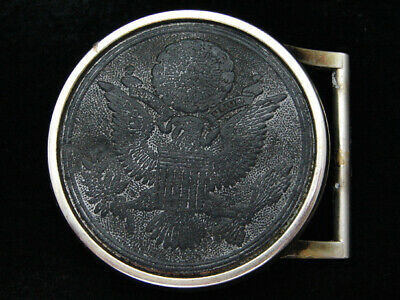 PH15142 VINTAGE 1970s *GREAT SEAL OF THE UNITED STATES* PATRIOTIC LEATHER BUCKLE
