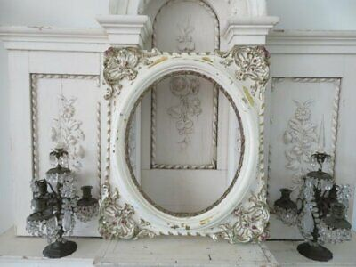 THE BEST Old Vintage French OVAL Wall FRAME ORNATE Barbola Gesso Creamy White