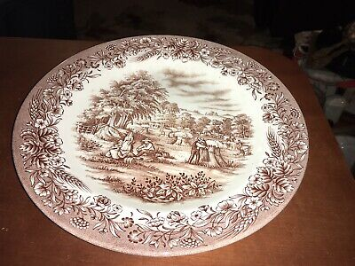 "Churchill Currier and Ives Harvest Dinner Plate 10.25"" Brown Transferware"