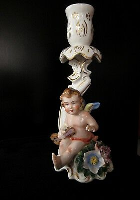 "Antique Capodimonte ""n & Crown"" Cherub Musician Hp Candle Holder; Made In Italy"