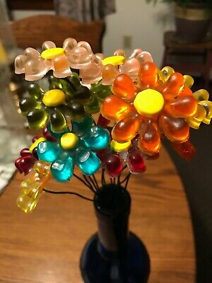 14 Vintage Lucite/acrylic Colored Flowers On Wire Stems