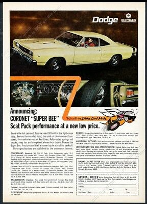1968 Dodge Coronet Super Bee yellow car photo vintage print ad