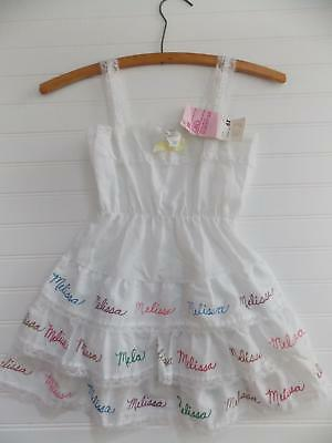 "NWT Sears Girl 6X Perma-Press Bouffant White Tiered Ruffle Slip ""MELISSA on Hem"""