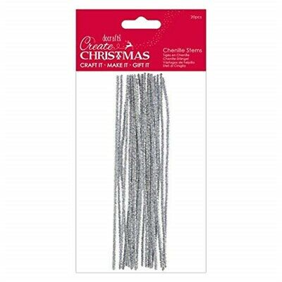 Create Christmas Chenille Stems-20 Pieces, Silver, One Size
