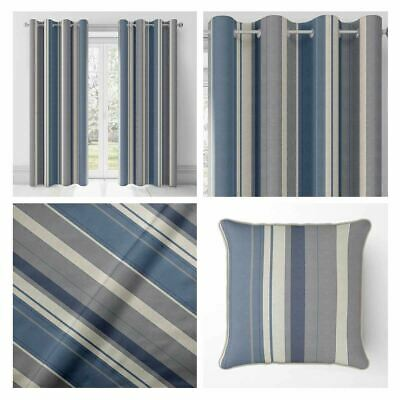 Blue Eyelet Curtains Navy Whitworth Stripe Lined Cotton Ring Top Curtain Pairs