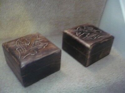 A Pair Of Beautiful Wooden Box's A Great Designed Pair Indeed