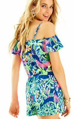 5f2bc53c69ef Lilly Pulitzer Klea Indigo All A Glow Off The Shoulder Jersey Short Romper L