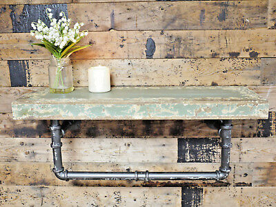 Vintage Distressed Wooden Pipe Shelf Industrial Wall Storage Shelving Unit New