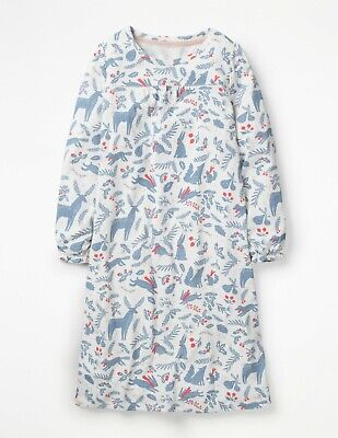 NEW Mini Boden Printed Nightie - Ivory Blue Woodblock Deer - Age 3 to 4 years