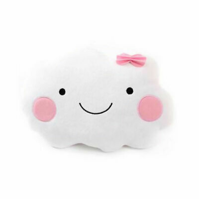 Smiley Face Cloud Shaped Cushion Pillow With Pink Bow Soft Stuffed