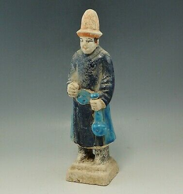 Chinese Ming Dynasty Terracotta Glazed Tomb Attendent Figure (322J)