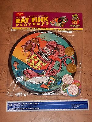 """1990s RAT FINK PLAY CAPS / POGS  GAME ED """"BIG DADDY"""" ROTH, SEALED, NOS #1"""