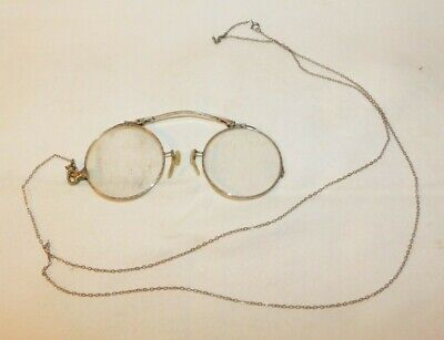 Antique Gold Filled Wire Rim Glasses Eyeglasses Opera Glasses with Chain