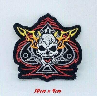 ACE OF SPADES /& SKULL SEW ON OR iRON ON BIKER MOTORCYCLE PATCH 80mm x 90mm