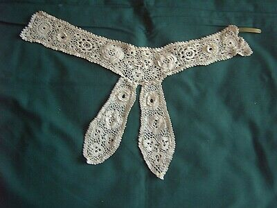 ** Vintage Lace - Stand Collar & Jabot - Crocheted Lace - Raised Flowers  [S]