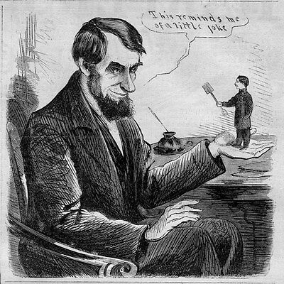 President Abraham Lincoln Political Cartoon 1864 Antique Engraving History