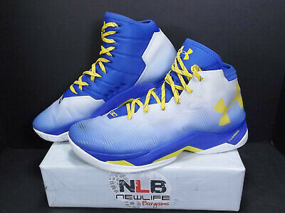 9f5a485acdb UNDER ARMOUR CURRY 2.5 White Blue Yellow 1274425-103 Men Size 12 ...
