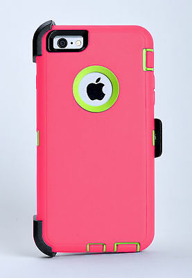 iPhone 6 Plus iPhone 6s Plus Case w/Belt Clip fits Otterbox Defender Pink/Green