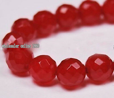"""Rare Natural Aaa 8Mm Faceted Red Ruby Gemstone Round Loose Bead 15"""""""