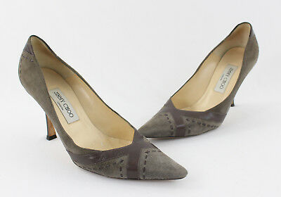 2547bbbc8c95 Jimmy Choo Gray Suede Brown Leather Heel Pump Shoe Size 38 8