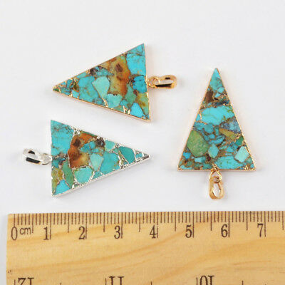 1Pcs Gold Silver Plated Geometric Triangle Blue Copper Turquoise Pendant HG1683