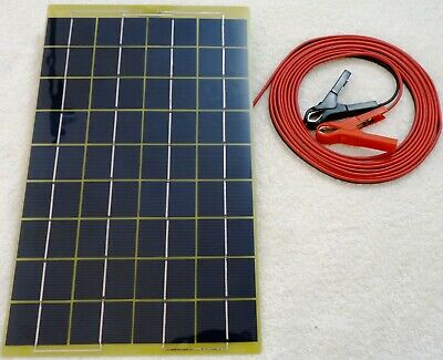10w Solar Panel very light 12v Battery Charger c/w 4m cable BLOCK Diode & Clip