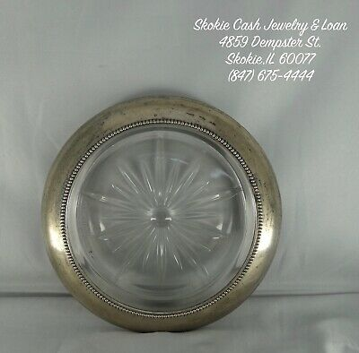 VINTAGE Frank M Whiting & Co Sterling Silver (06) Glass Ashtray/Coaster/Dish