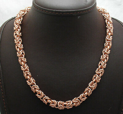 Technibond Byzantine Chain Necklace Magnetic Lock 14K Rose Gold Clad Silver