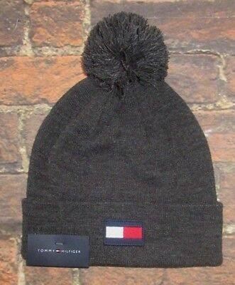 c95295ff39e81 Mens Tommy Hilfiger Charcoal Gray Pom Beanie Hat One Size