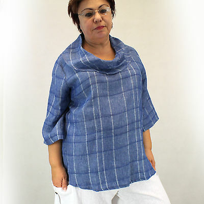 0f397075d3 NEW Chalet Plus Size Cowl Neck Blue Plaid 100% Linen Blouse 2X Made in USA