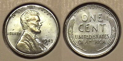 """1943-S Lincoln One Cent """"wheat Penny"""" (Steel Cent) 1¢ Coin (Lot #2)"""