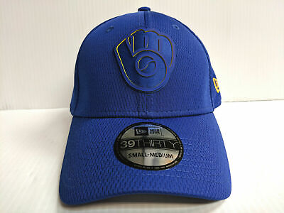on sale dd87c 08d38 Milwaukee Brewers Cap New Era 39Thirty Stretch Fit 2019 Blue Clubhouse Hat  MLB