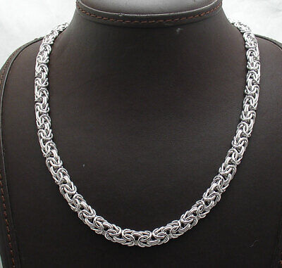 Technibond Domed Classic Byzantine Link Chain Necklace Platinum Clad 925 Silver