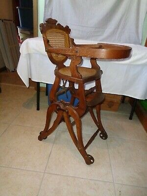 Antique Late 1800's Carved Walnut Cane Back Collapsible High Chair / Rocker WOW!