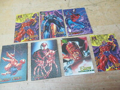 Marvel Masterpieces Canvas 1995-1996 Card Lot Spider-Man Scarlet Carnage Magneto