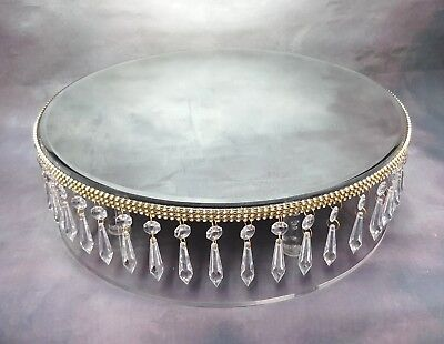 16 inch GOLD  REAL CRYSTAL TRIM WEDDING CAKE STAND WITH MIRROR TOP