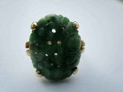 Antique Fine Old Chinese Green Jade 14K Gold Ring Man Or Woman Vintage Carving