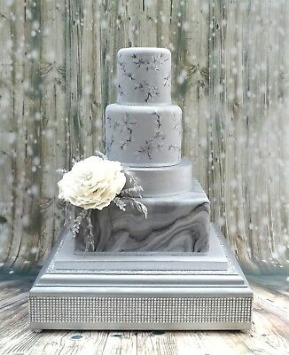 Silver / Grey Wooden Square Crystal Effect  Wedding Cake Stand 14 Inch
