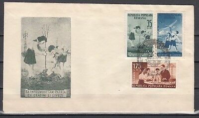 Romania, Scott cat. 933-935. Pioneer`s Activities issue. First day Cover