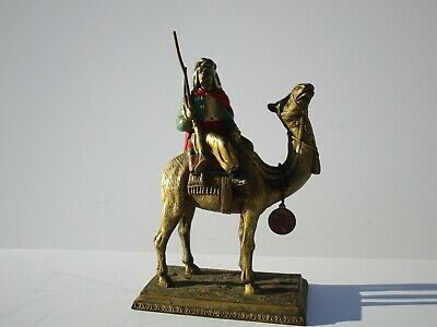 Antique Bronze Metal Sculpture Austrian?  Orientalist Man On Camel Painting Old