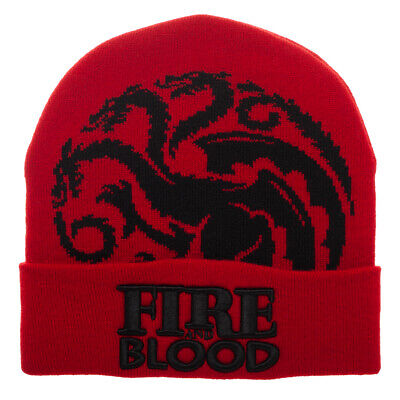 683b4c91920ce Game of Thrones House Targaryen Fire and Blood Red Winter Hat Beanie Knit  Cap
